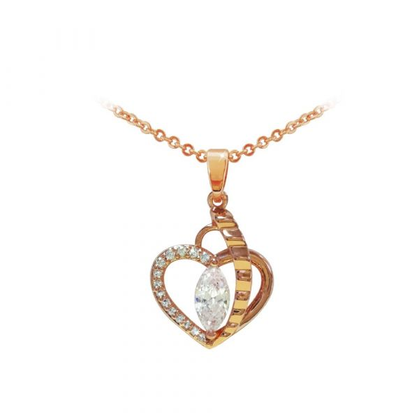 Tipperary Crystal Rose Gold Heart Pendant W/ Marquise Cut