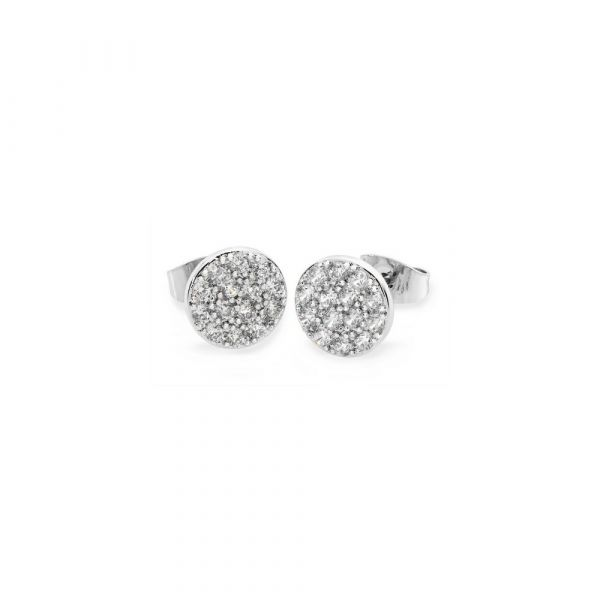 Tipperary Concave Pave Moon Earrings Silver