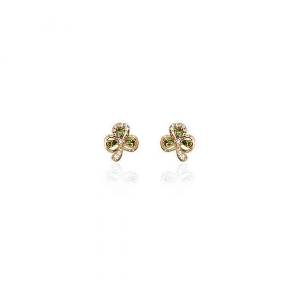 Tipperary Maureen O'Hara Rose Gold Shamrock Earrings