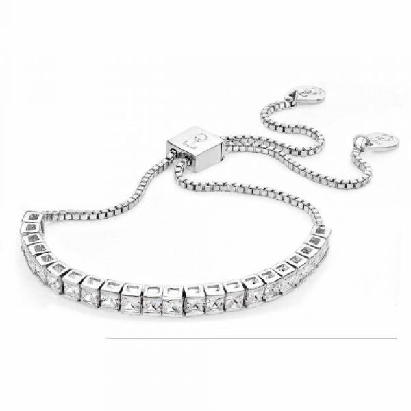 Tipperary Crystal Square Tennis Bolo Bracelet Silver