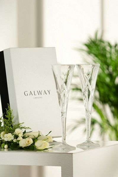 Galway Crystal Longford Romance Flutes (Pair)