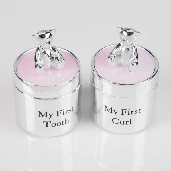 Teddy First Tooth & First Curl Boxes (Pair) Girl