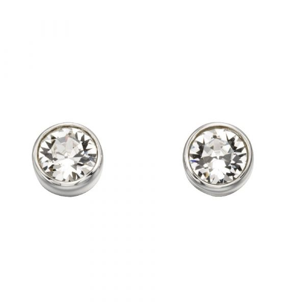 Signature Silver April Birthstone Earrings (Clear)