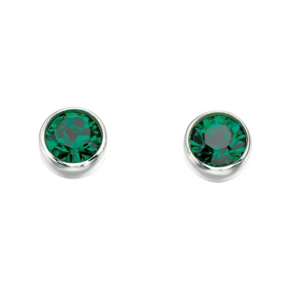 Signature Silver May Birthstone Earrings (Emerald)