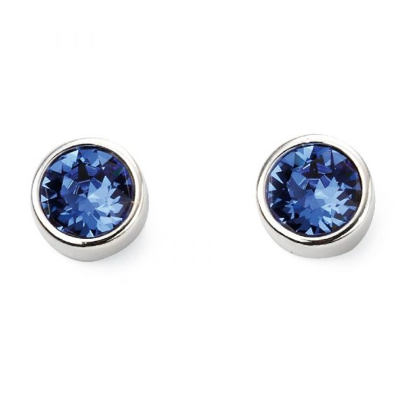Signature Silver September Birthstone Earrings (Sapphire)