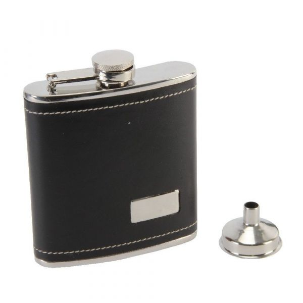 BLACK HIP FLASK WITH ENGRAVING PLATE & FUNNELL SET