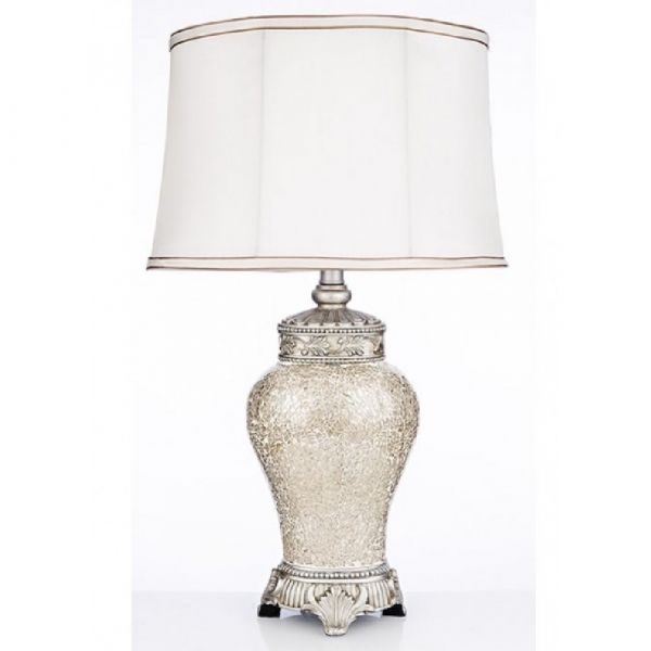 Elegance Ivory Crackle Table Lamp & Shade 60cm