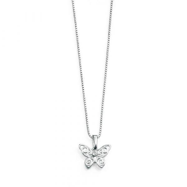 D For Diamond Butterfly Pendant