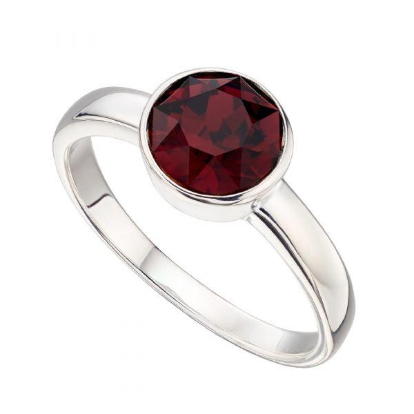 Signature Silver January Birthstone Ring Size 56  (Burgundy)