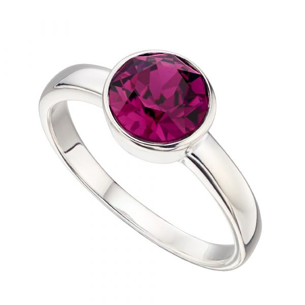 Signature Silver February Birthstone Ring Size 56  (Amethyst)