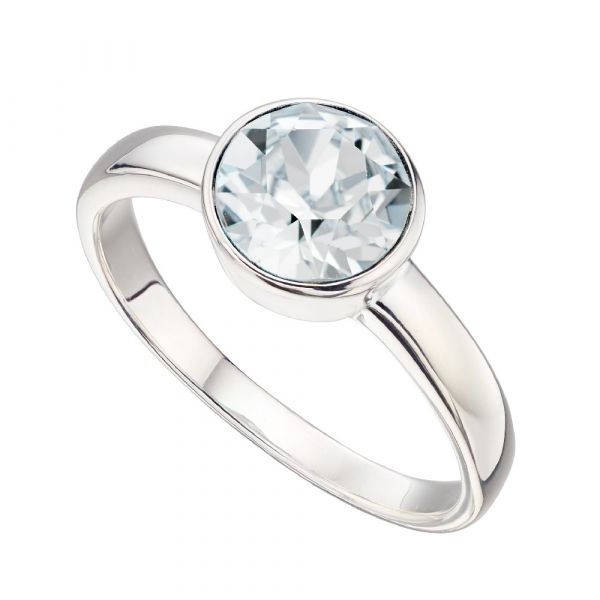Signature Silver April Birthstone Ring Size 54  (Crystal)